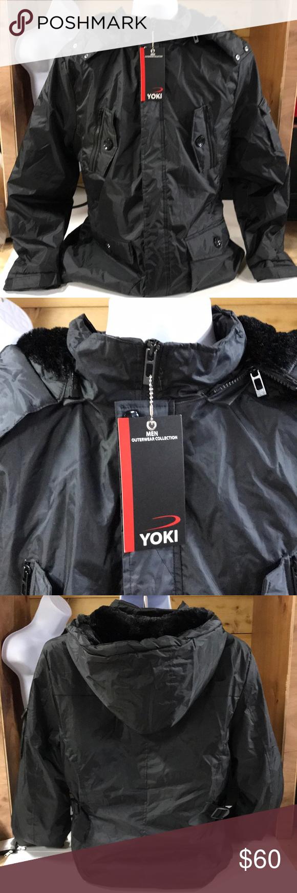 Yoki Sport Jacket Men S Xl Black Fur Like Hood Sport Jacket Men Clothes Design Jackets [ 1740 x 580 Pixel ]