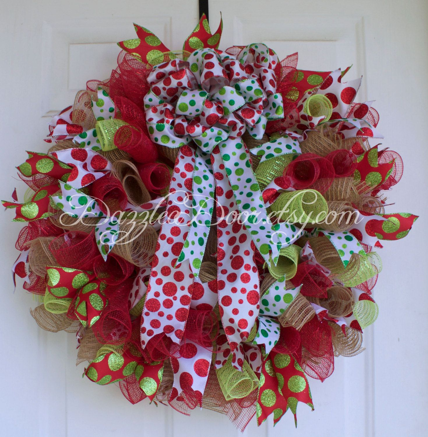 Christmas Wreath, Curly Q Deco Mesh Wreath in Red, Lime Green and Jute with  Polk-a-dot bow
