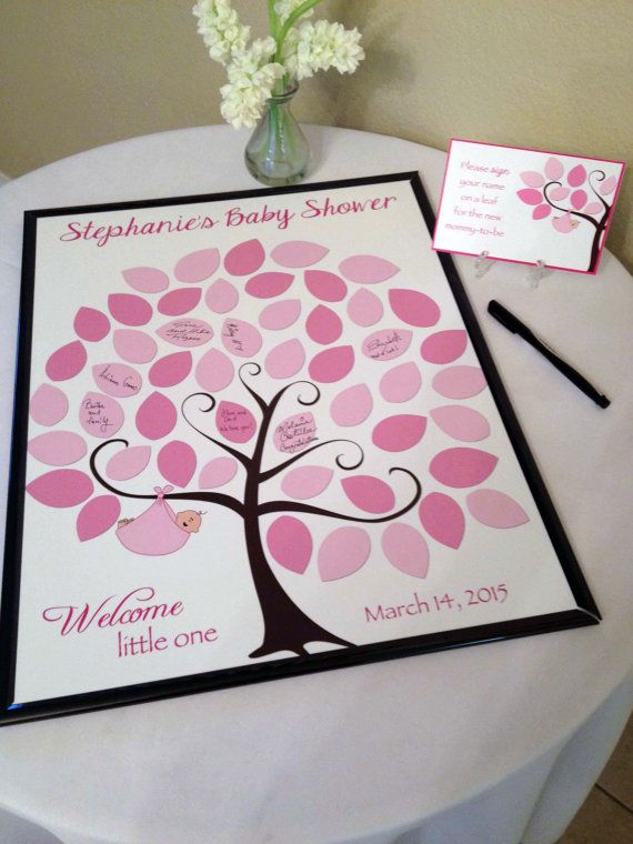 baby shower guest 16x20 signin tree poster baby shower guest book alternative 50 leaves read description can be made in other colors