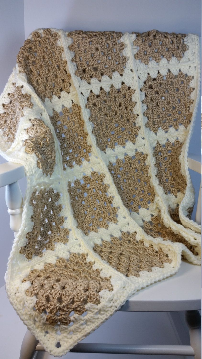 Car baby boy blanket crochet blanket by prairieheartstrings - Crochet Baby Blanket Beige Creme Granny Square Stroller Size Car Seat Cover Ready To Ship