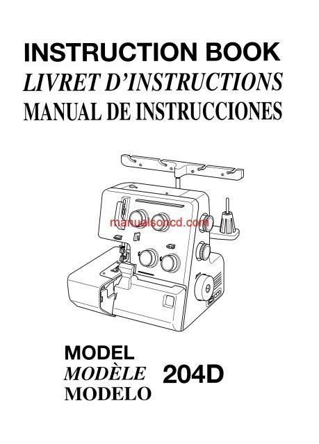 janome 204d serger sewing machine instruction manual