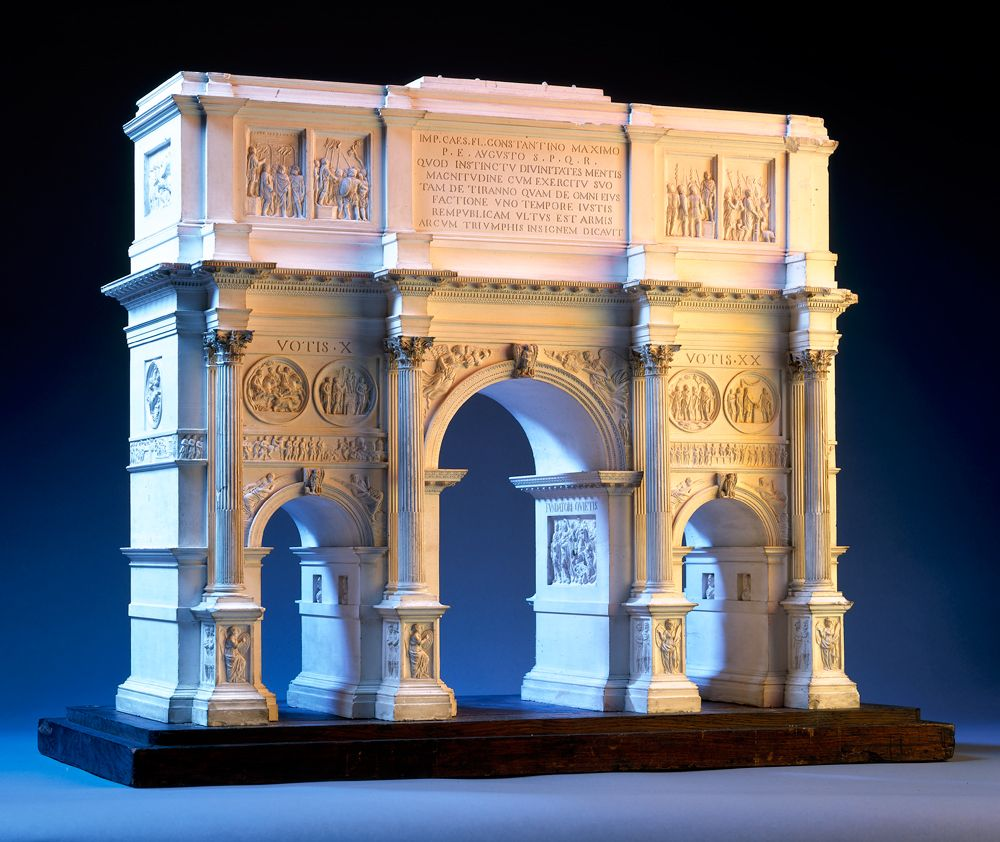 Model of the arch of constantine probably by jean pierre fouquet and françois fouquet plaster on metal armature wooden base