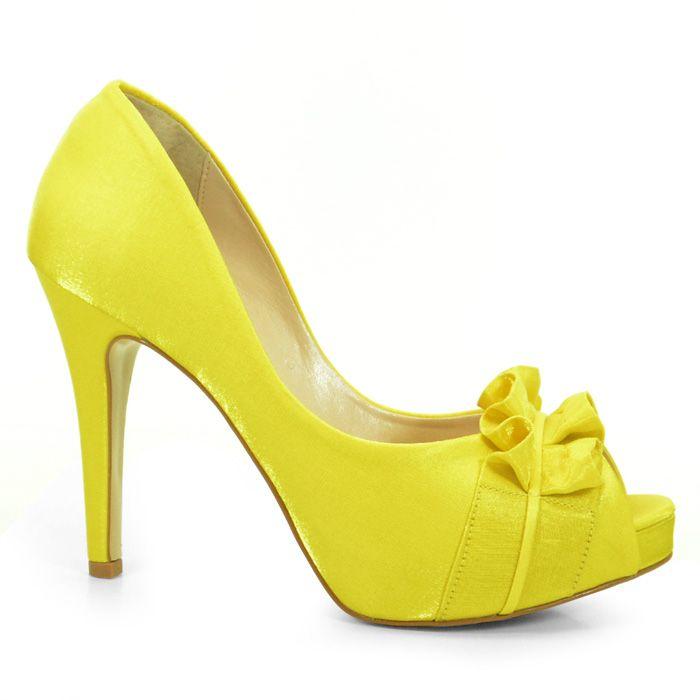 744d4ca2f6 Sapato de Noiva Peep Toe Amarelo Laura Porto