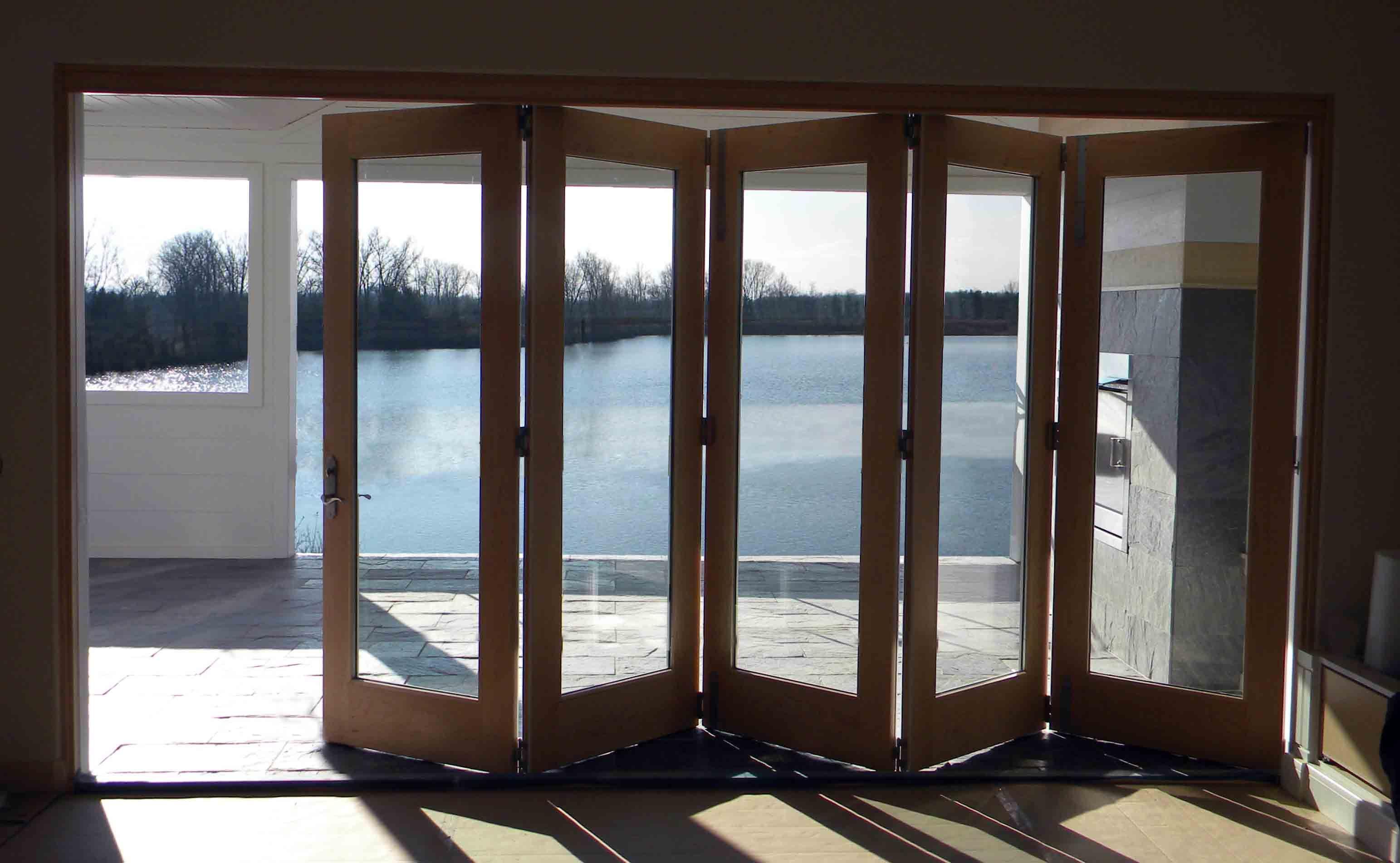 5 Panel Bi Fold Door Clear Pine Interior Lake View