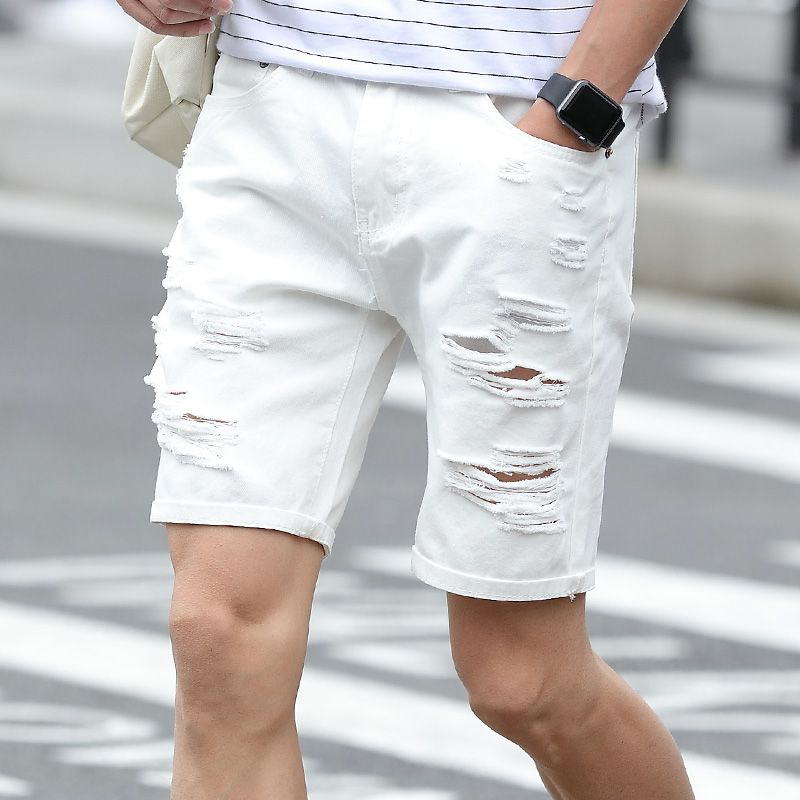 dce5679c5d White Men Shorts Summer Casual Short Denim Pants Hole Cotton Mens Ripped Jeans  Shorts #Affiliate