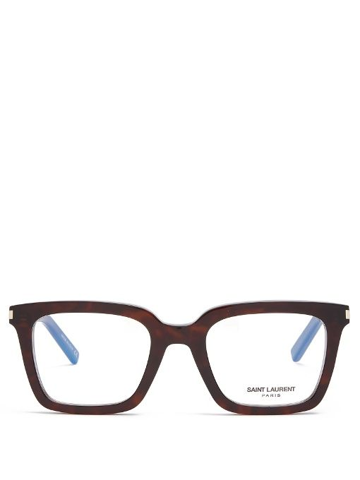 Rectangle-Frame Glasses, Brown | St laurent, Saints and Glass