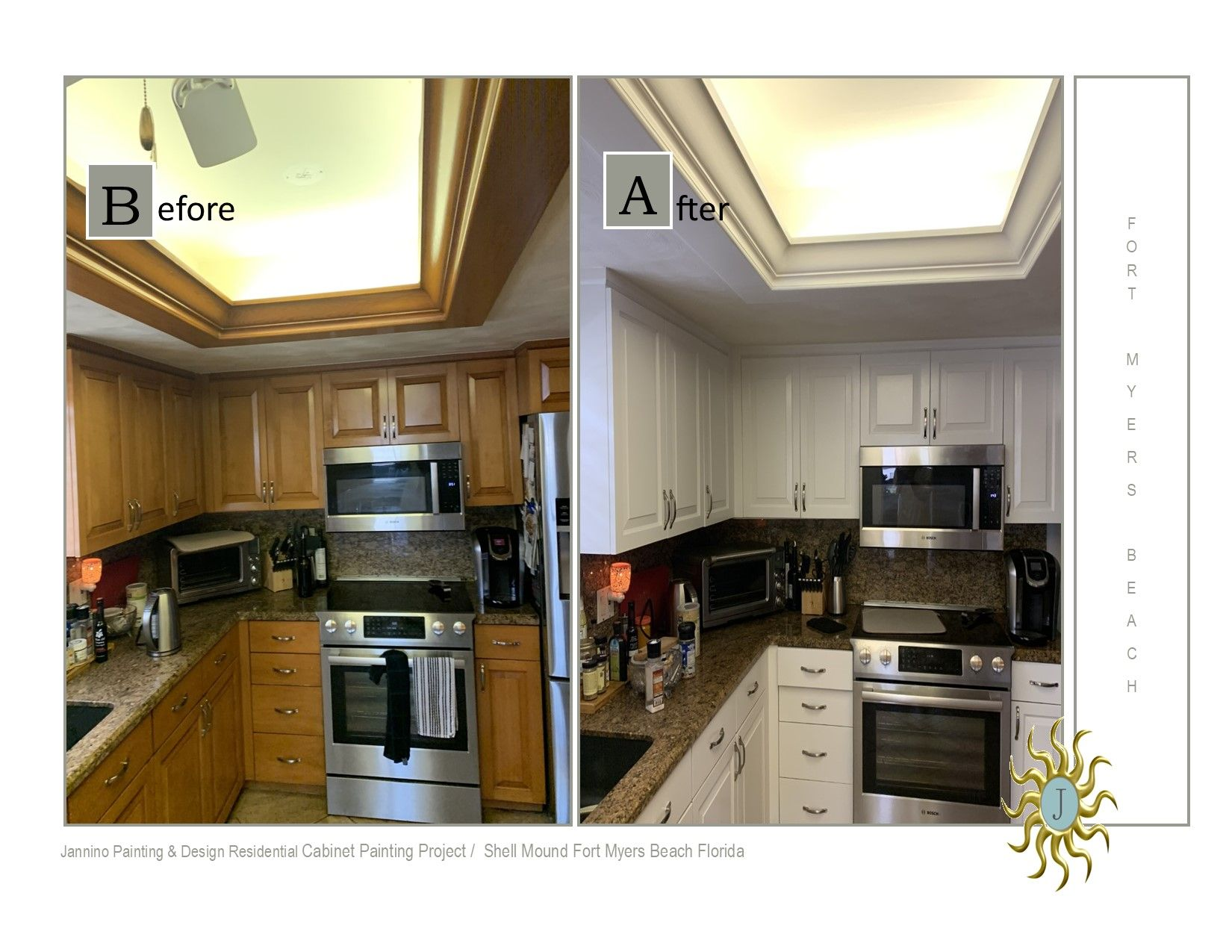 Before And After Cabinet Painting Project On Fort Myers Beach In 2020 Kitchen Cabinets Painted Before And After Residential Cabinets New England Style Homes
