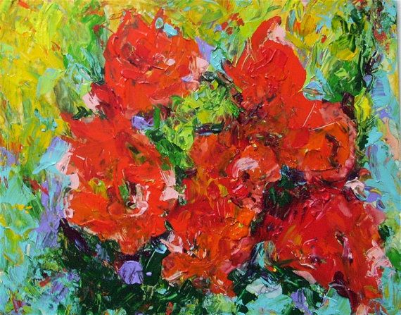 Wild Roses Abstract  Floral Birthday Gift Mom   by RickyArtGallery, $69.00