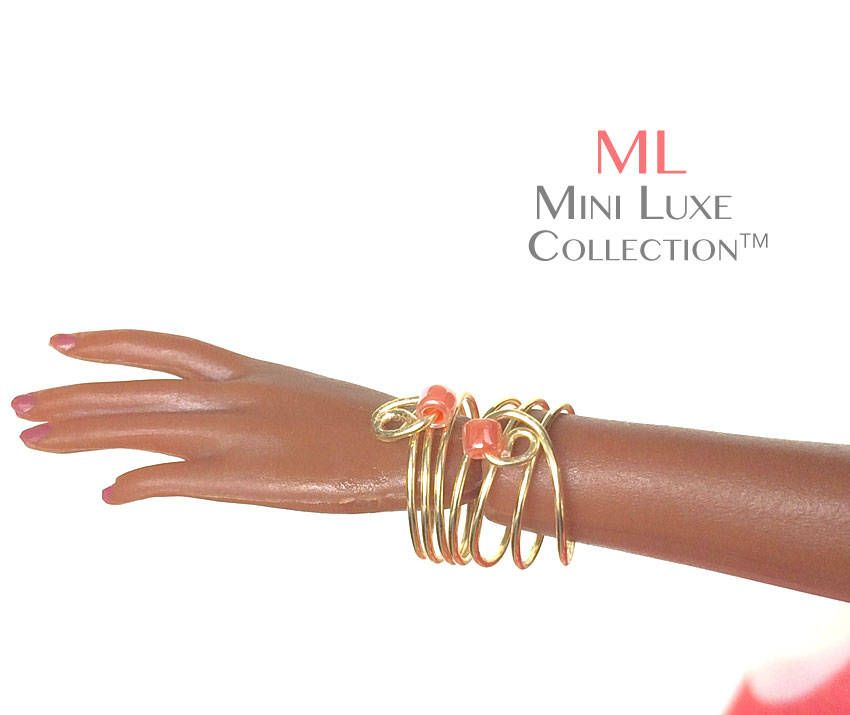 Doll Jewelry - Gold & Pink Bracelet- Fashion Royalty dolls, Poppy Parker, and Silkstone Barbie by MiniLuxeCollection on Etsy