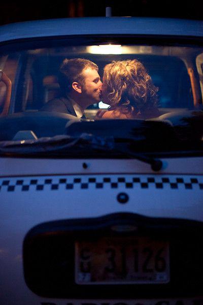 Classic cab wedding getaway