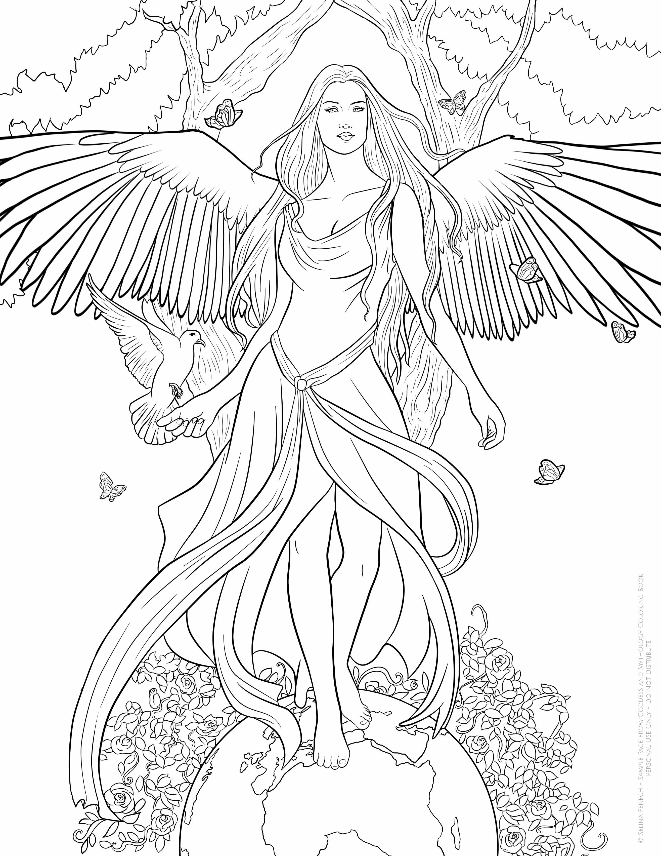 Pin By Erica Nicole On Para Colorir Angel Coloring Pages Fantasy Coloring Pages Fairy Coloring Pages