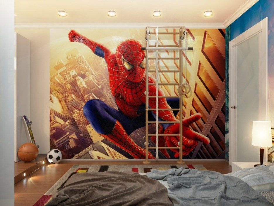 Bedroom, : Beautiful Interior Design With Spider Man Theme For Boys Room  Decoration Using Spider