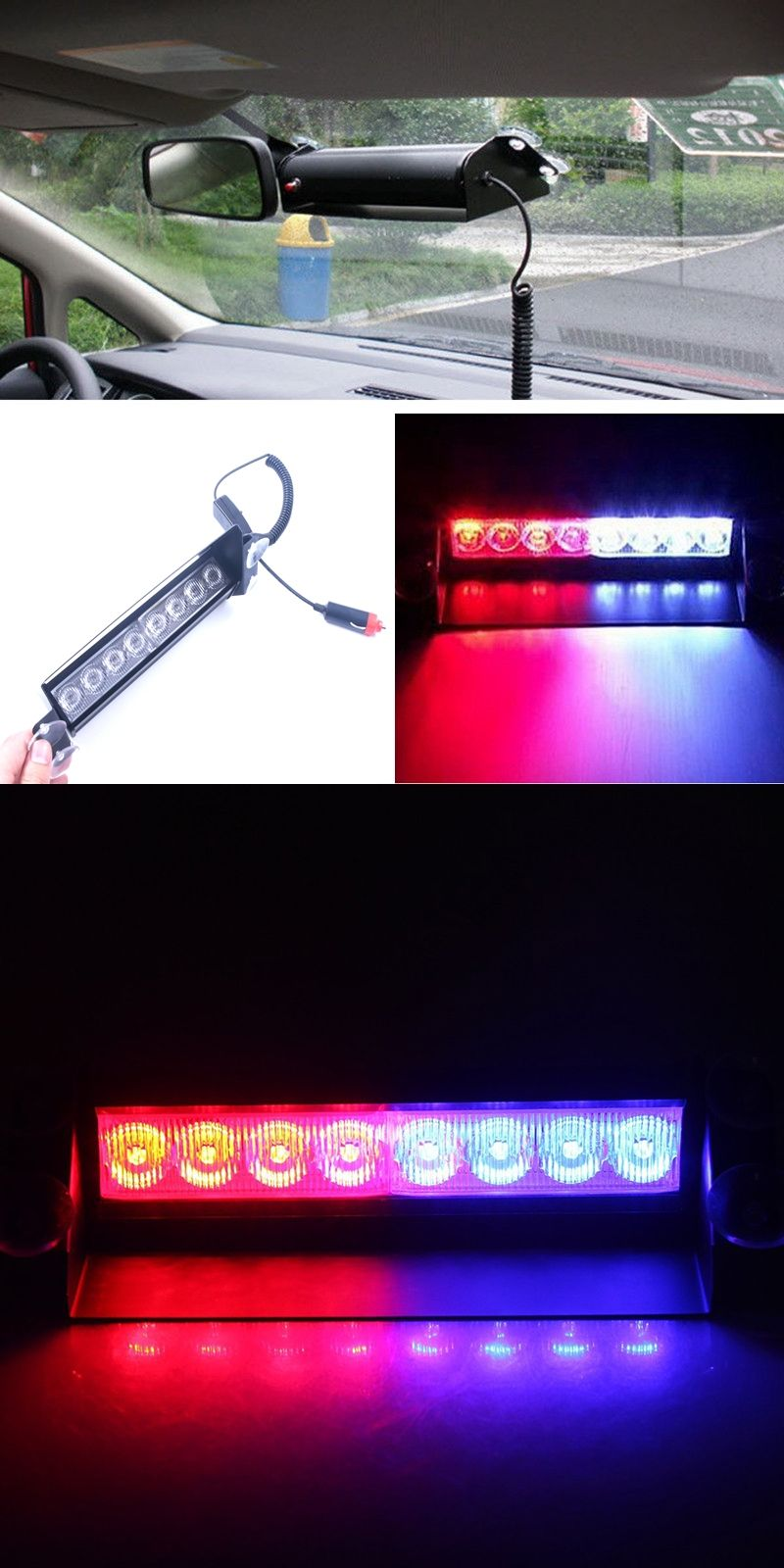 8 LED Red/Blue Car Police Strobe Flash Light Dash Emergency Warning 3  Flashing Fog