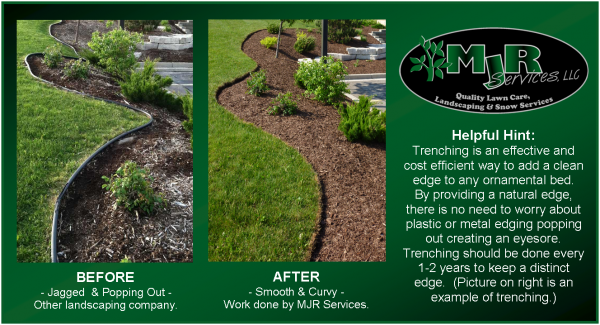 Trench Edging (Digging 6 inch deep and wide trenches) are