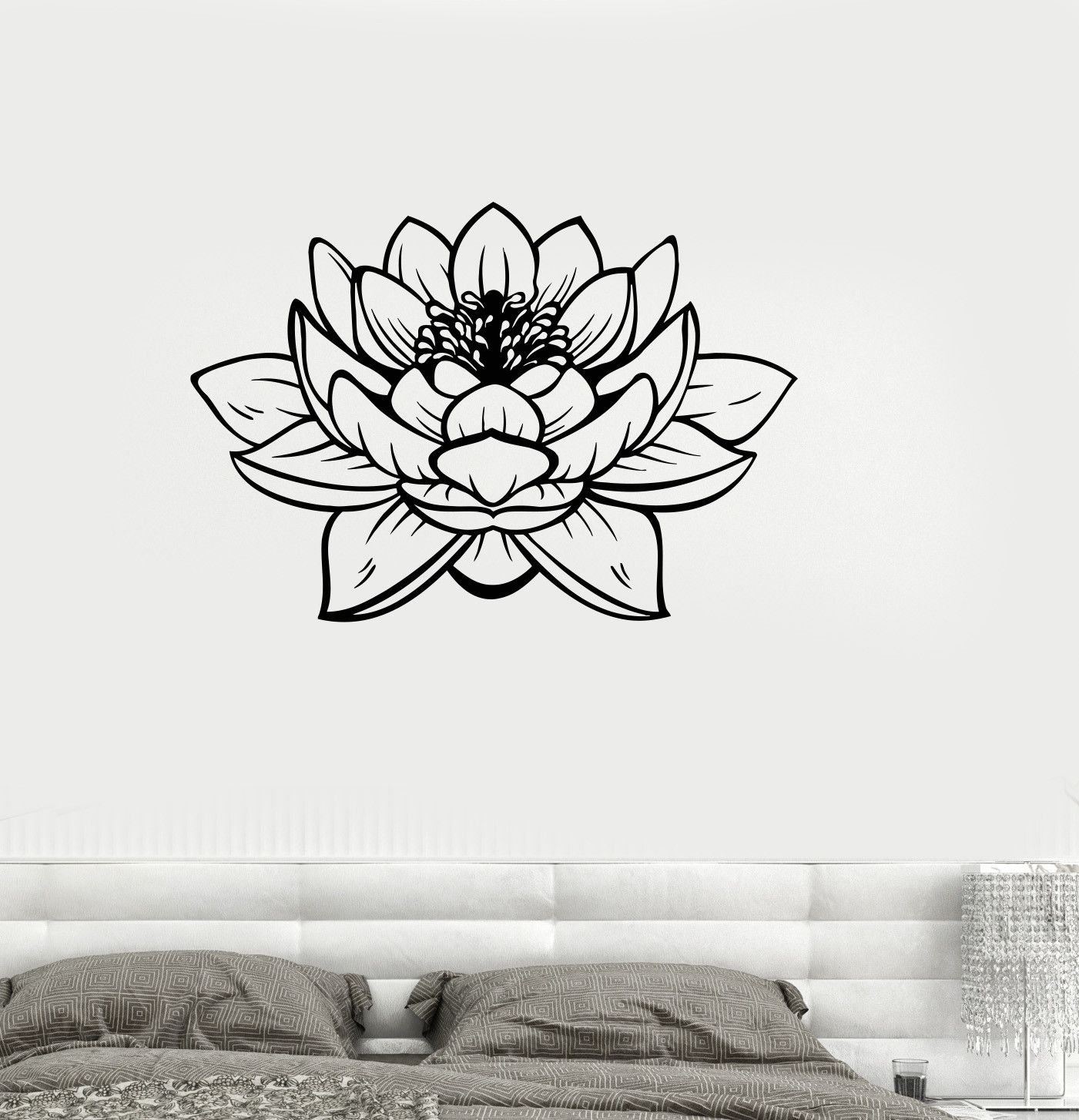 Vinyl Wall Decal Lotus Blossom Flower Yoga Studio Buddha Stickers
