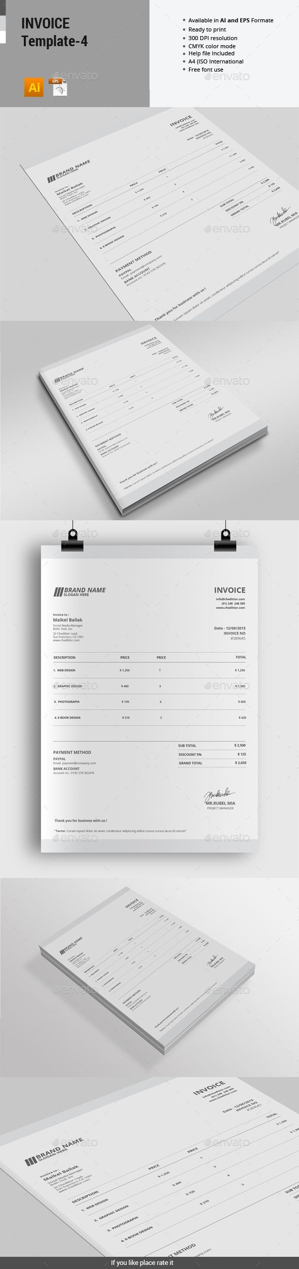 Invoice Template   4   Template and Proposal templates Invoice Template   4 by alimran24 INVOICE BUNDLE Package included 1 Files  Illustrator Ai cs 5