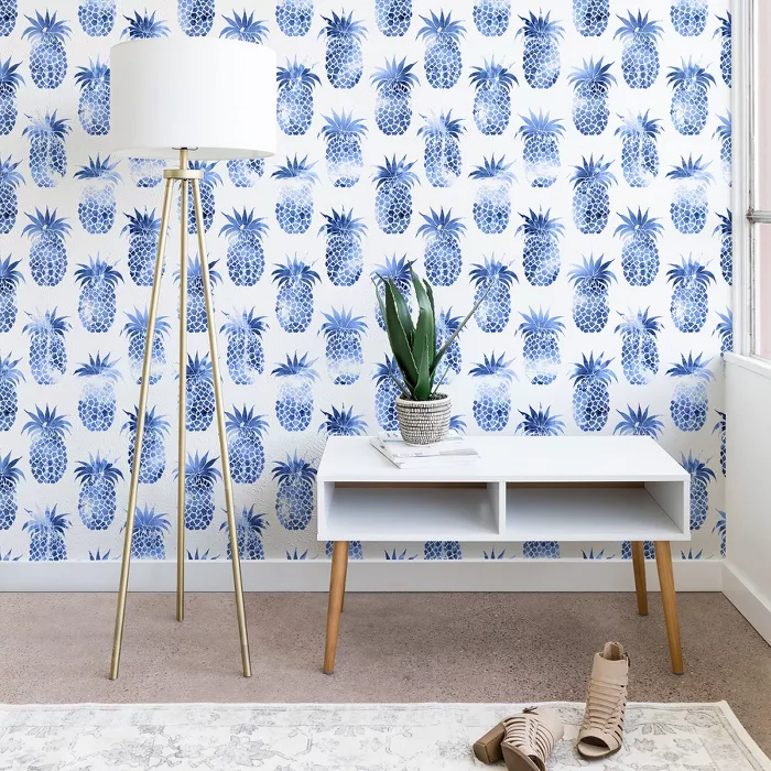 2 X10 Schatzi Brown Pineapples Blue Wallpaper Blue Deny Designs Target In 2021 Blue Wallpapers Blue Wallpaper Living Room Brown Wallpaper