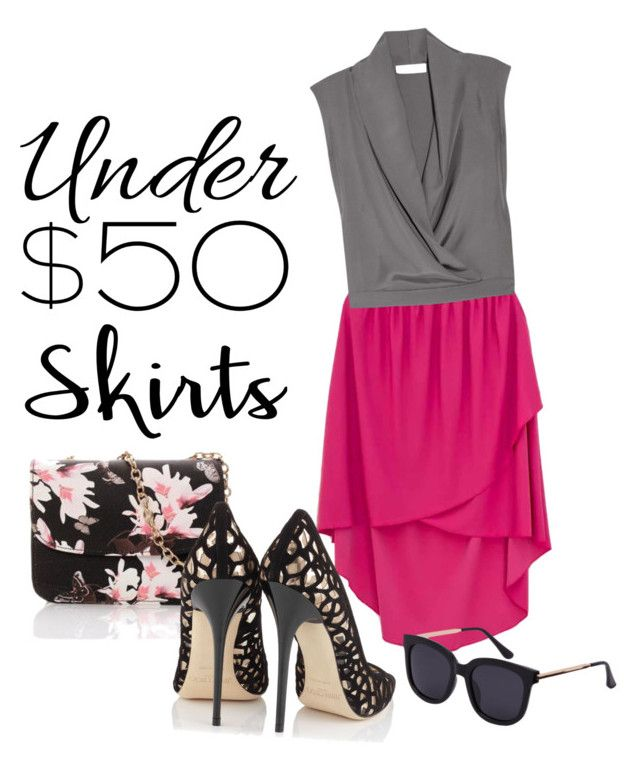 """""""just"""" by omahtawon ❤ liked on Polyvore featuring Yves Saint Laurent, Jimmy Choo, under50 and skirtunder50"""