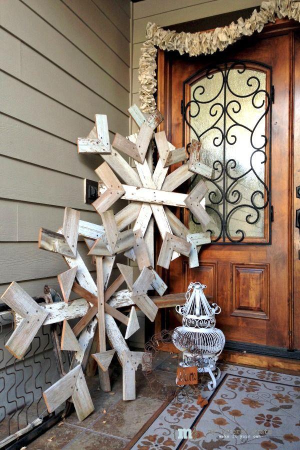 Reclaimed Wood Snowflake Adornos de navidad, Cestas de