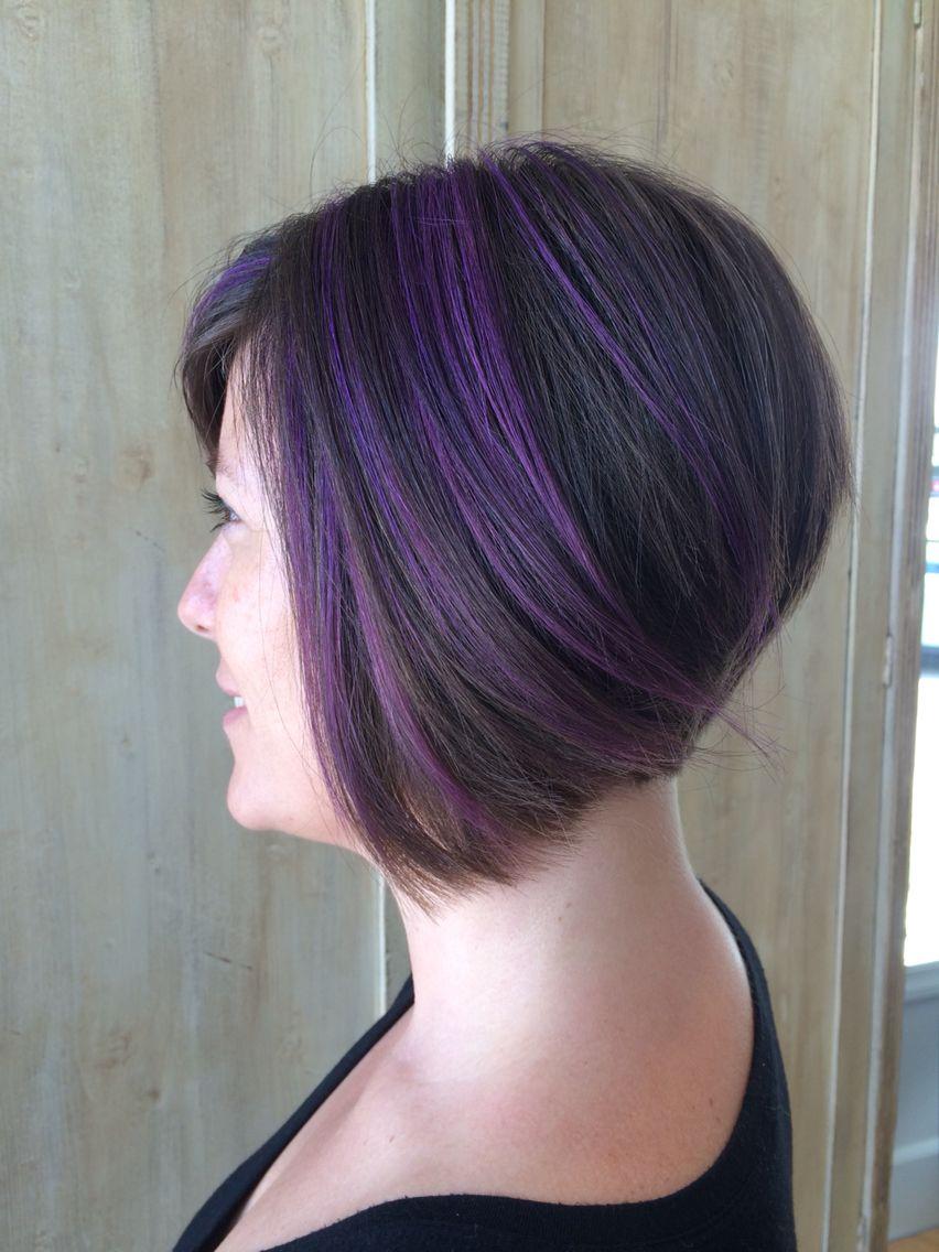 Purple Highlights Purple Highlights Brown Hair Hair Highlights Brown Hair Short