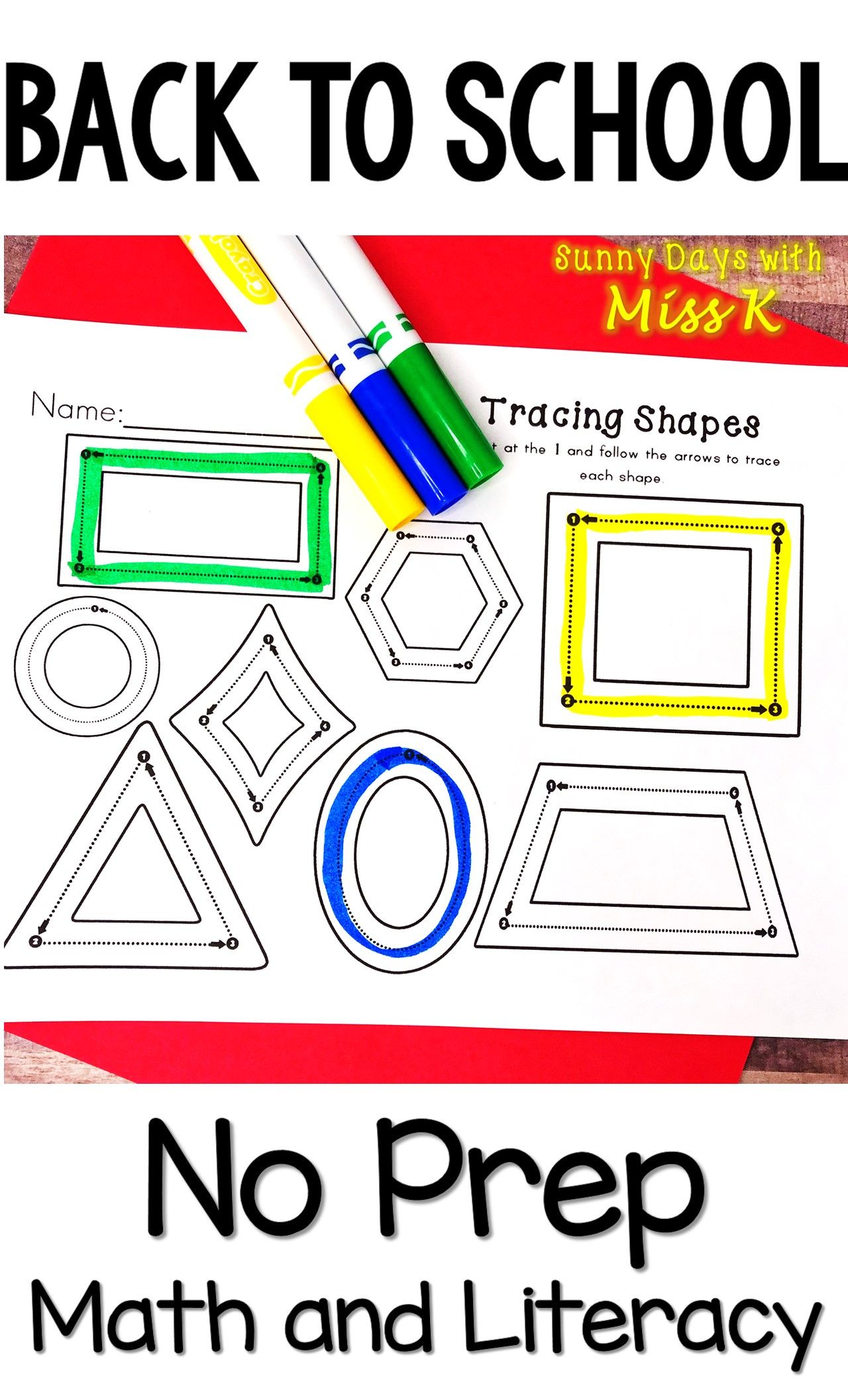 Kindergarten Back To School Activities Math And Literacy