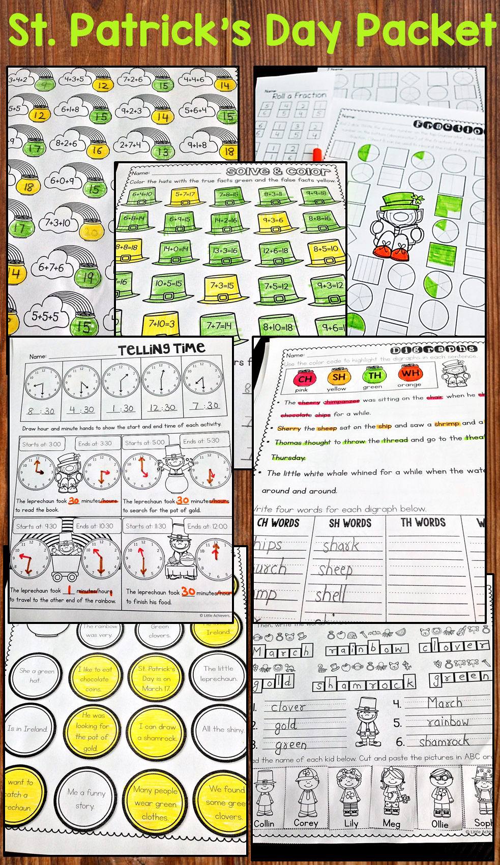St Patrick S Day Printables March Activities First Grade Literacy Worksheets March Activities First Grade Math [ 1701 x 983 Pixel ]