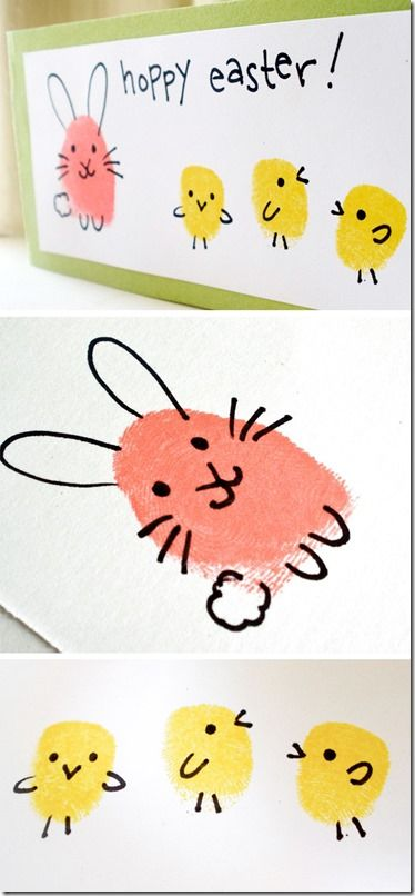 Easter bunny and chick fingerprint craft