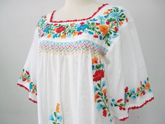 5d4c593327122 Embroidered Mexican Blouse White Cotton Top Boho Blouse Hippie Top ...