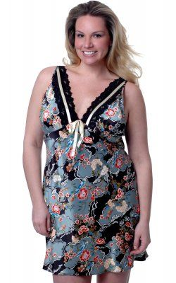 Ladies Floral Satin Nightie [VX4061] - $45.00 Free Shipping
