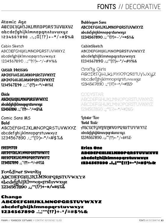 High school type fonts