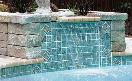pool tile and water fall - Swimming Pool Tile Designs