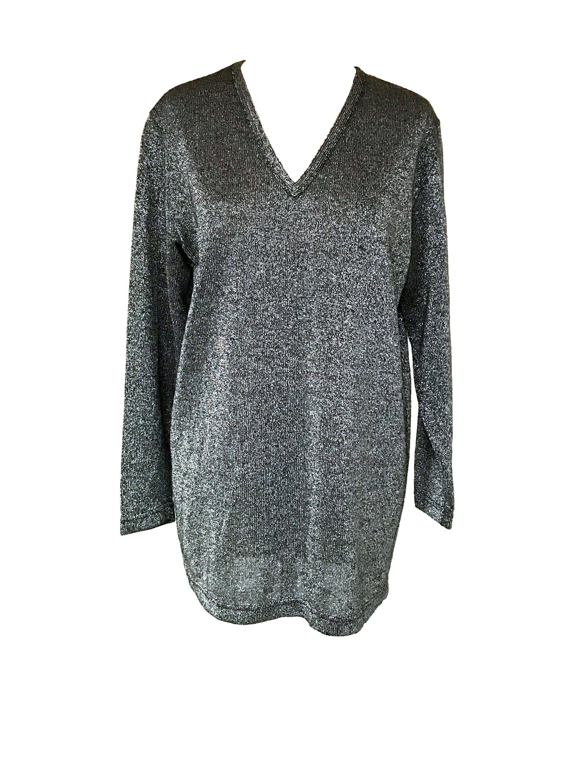 526518f5d7e 70s-80s Silver Lurex Metallic Thread Glitter Jersey Knit Long Tunic  Pullover Sweater Top, Italian vintage Silver Lurex Jersey Dress Tunic