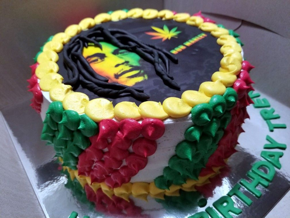 Prime Bob Marley Birthday Cake With Fondant Hair Vanilla With Personalised Birthday Cards Veneteletsinfo