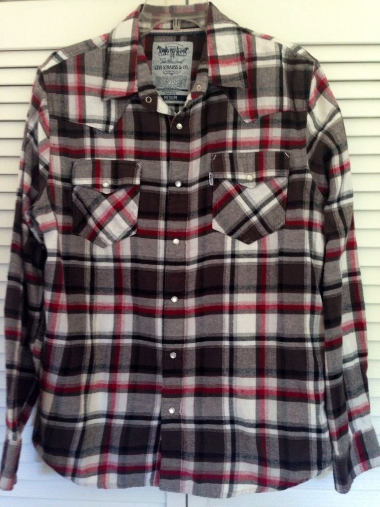 c6f6756c Men's Levi's Plaid Flannel Snap Front Western Rockabilly Shirt Medium #Levis  #Western