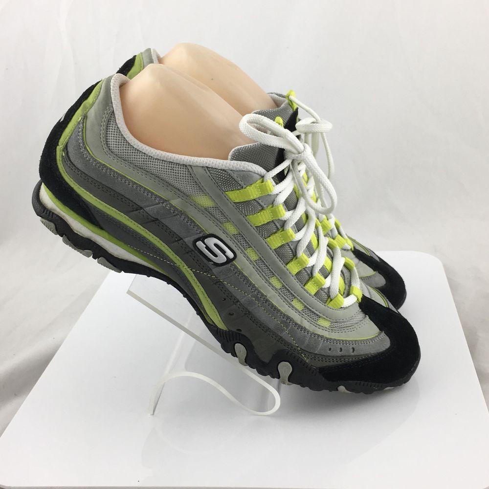 5b9e0bc44f903 Skechers Imprints 21752 Womens Leather Mesh Walking Sneaker Shoes Size 9  Gray