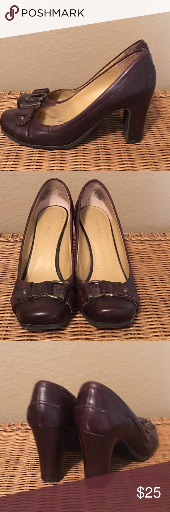 👠👠 Excellent condition brown leather with bronze buckle!  These shoes show almost no sign of wear except for inside where it touched my foot.  No marks on the outside and very little wear in the soles.  All leather 3 1/4 in heel. Nine West Shoes Heels