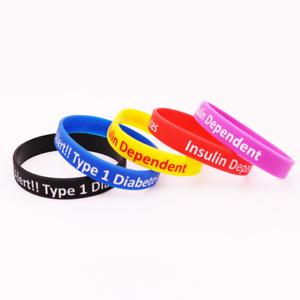 9e5b70138189 a diabetes tipo 1 alerta medica dependiente de insulina silicona goma  pulsera ss