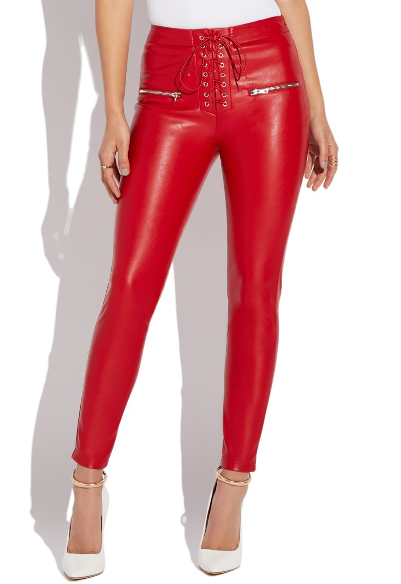 cheap fine craftsmanship variety styles of 2019 Faux leather lace up pant   Products in 2019   Red leather ...