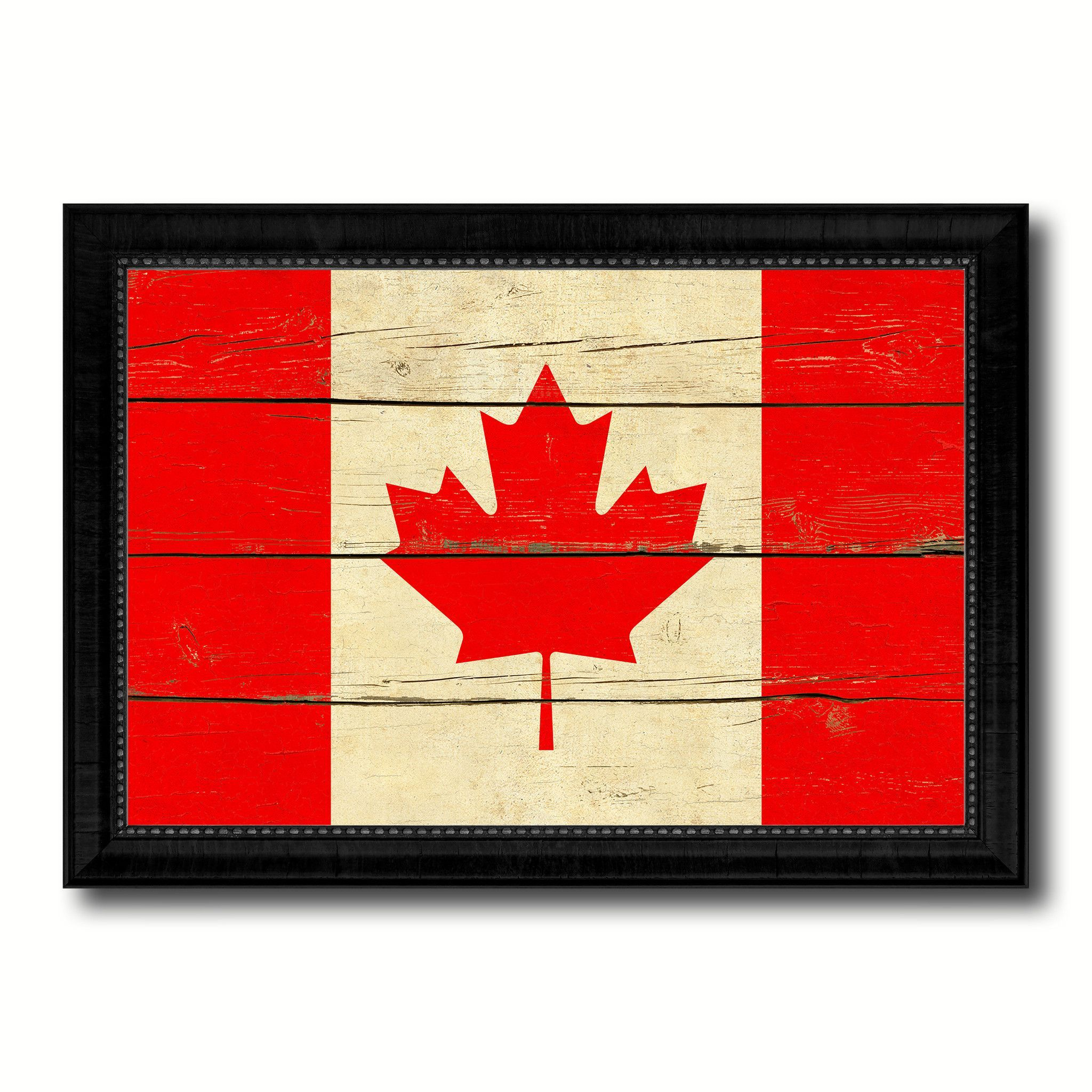 Canada Country Flag Vintage Canvas Print with Black Picture Frame ...