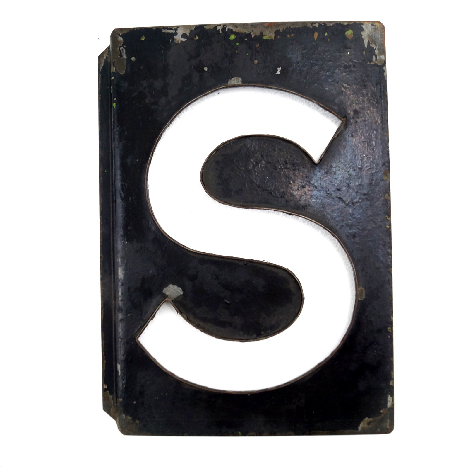 """Tall Metal Letters Vintage Metal Letter """"s"""" Moonglo Marquee Letter 13"""" Tall C.1900S"""