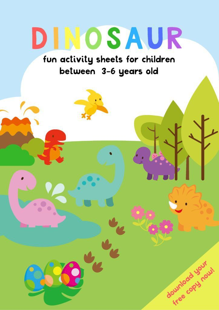 DINOSAUR ACTIVITY SHEETS FOR 3-5 YEARS OLD | Kindergarten party, Pre ...