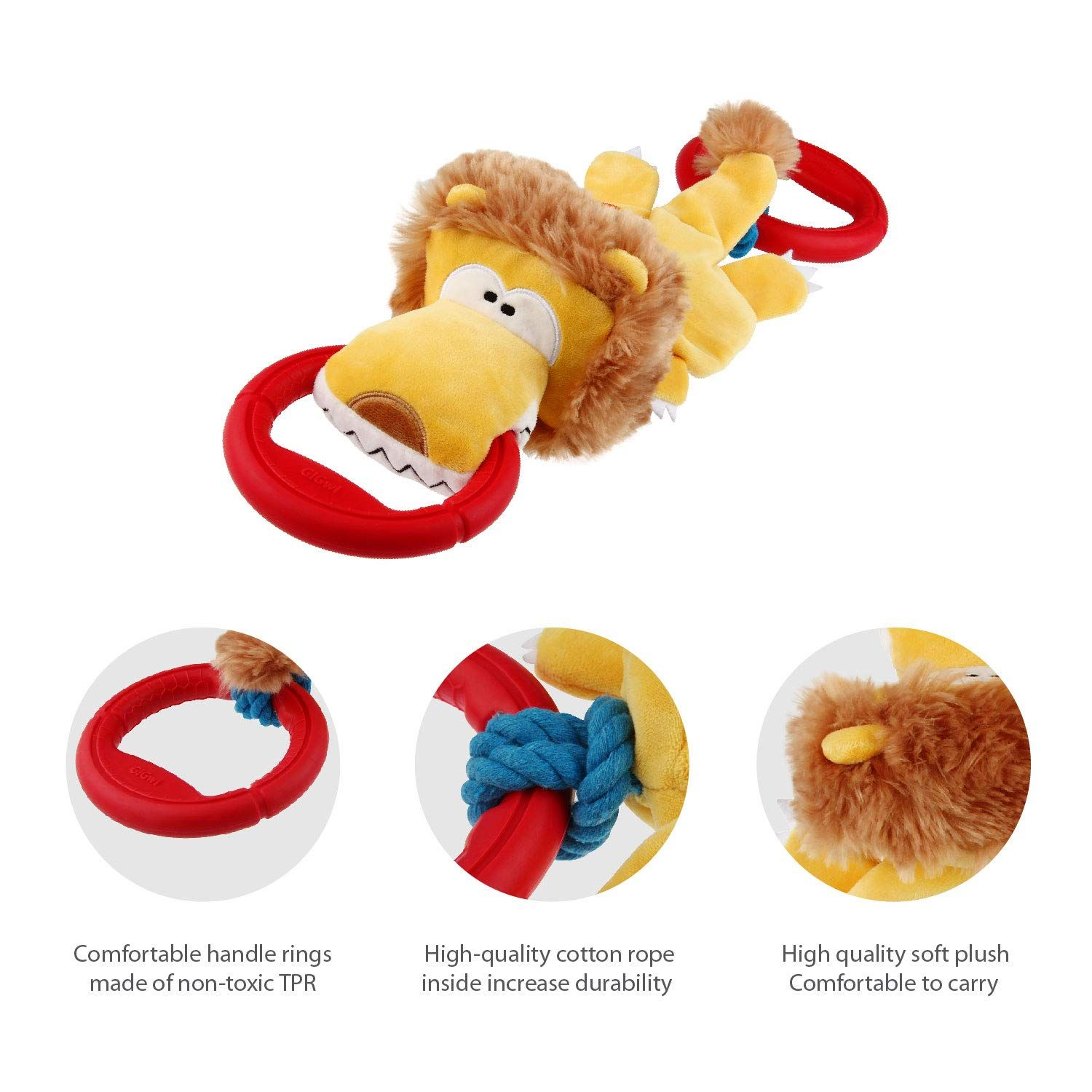 Gigwi Iron Grip Series Plush Lion Dog Toy Tug Knot Rope Dog Toy