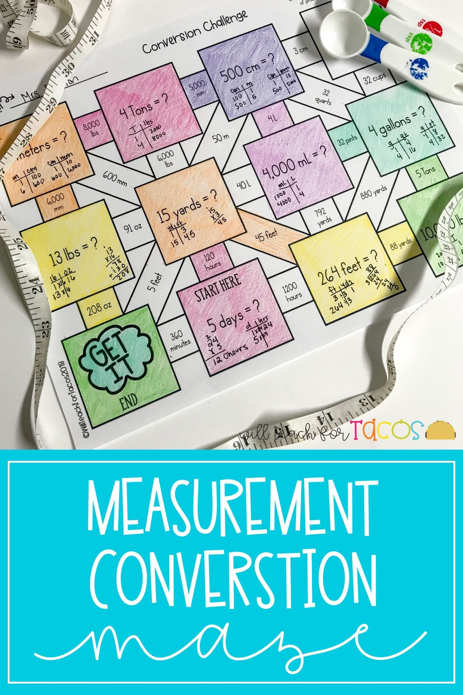Measurement Conversions Maze 4 8b 5 7a
