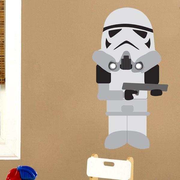 Stickers pour enfants: soldat Trooper.  Vinyle décoratif Star Wars. #starwars #vinyle #mur #trooper #decoration #deco #WebStickersMuraux