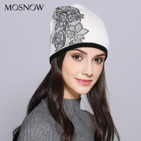 MOSNOW Women Hat Female Autumn Winter Wool Elegant Flower Decoration New  2018 Knitted Warm Women s Hats Skullies Beanies  MZ721 183b12ad6843