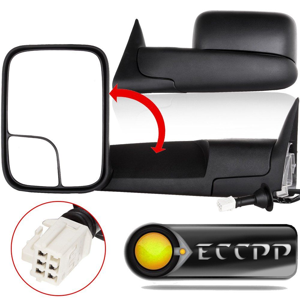 Eccpp Power Heated Black Manual Side View Mirror Tow Towing Mirrors W Brackets Replacement Fit For 98 01 Dodge Ram 2001 Dodge Ram 1500 Dodge Ram 1500 Dodge Ram
