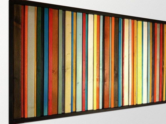 Abstract Wood Wall Art | Abstract Art Wood Wall Sculpture in Fiesta Colors 24x48 - Made to ...