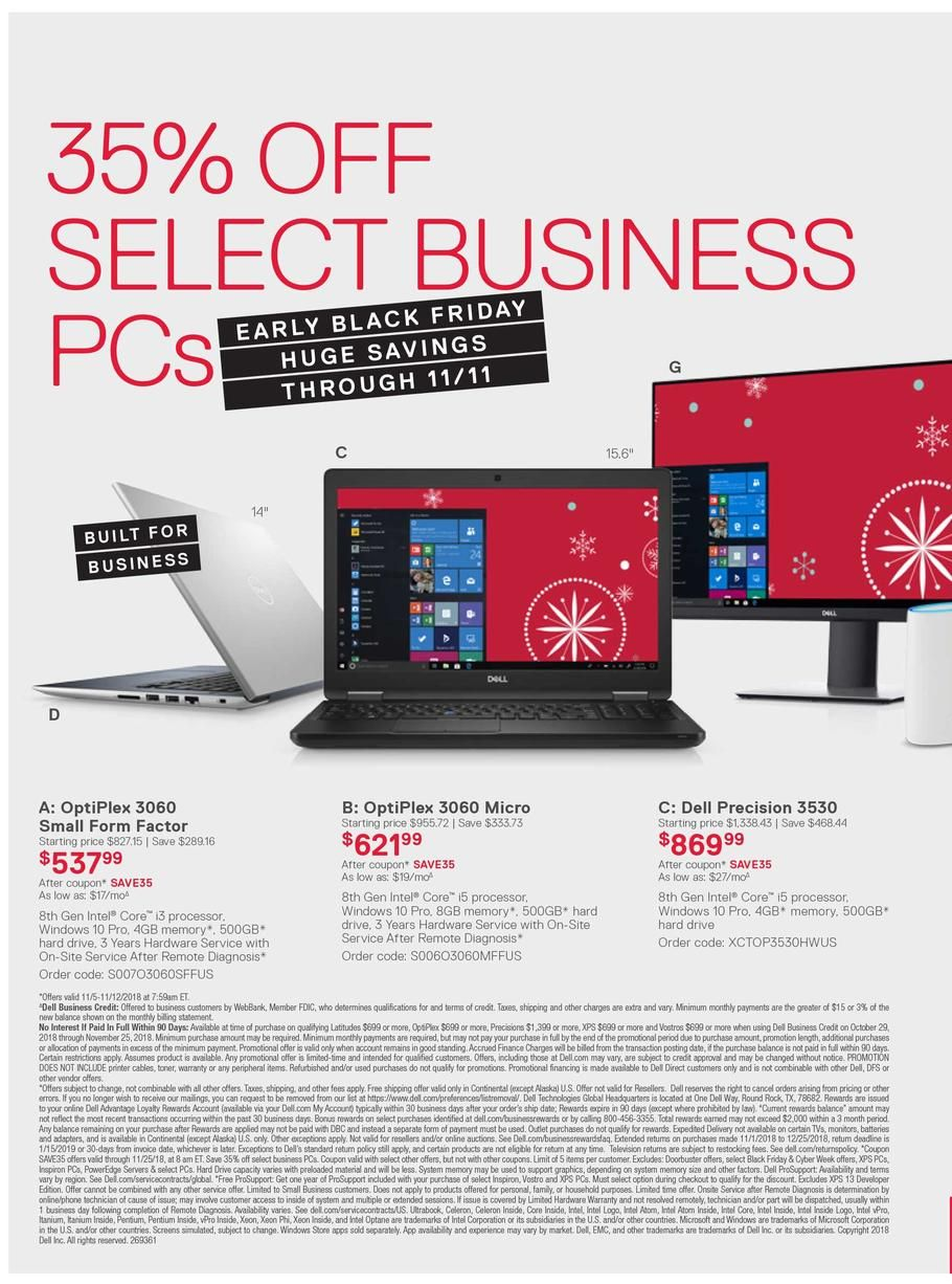 Dell Small Business Early Black Friday 2018 Ads and Deals