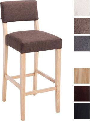 Holz Barhocker MORITZ mit Stoff-Bezug, Bar-Stuhl mit Lehne ...