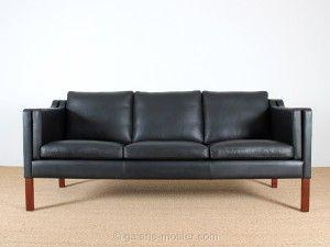 canap danois en cuir noir gren 3 places structure en htre massif pitement - Canape Danois